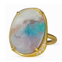 Anne Sportun One of a Kind Oval Paraiba Tourmaline Ring--This is a really interesting stone and setting.