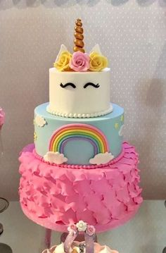 Loving the cake at this gorgeous Unicorns Birthday Party!! See more party ideas and share yours at CatchMyParty.com #catchmyparty #unicorn