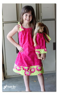 Sugar Bee Crafts: Girl and Doll - easy matching dresses