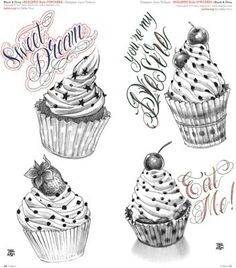 More Cup Cake Tattoo Designs