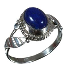 925 Solid Sterling Silver Ring Natural Lapis Lazuli US Size 6.75 JSR-1361 #Handmade #Ring