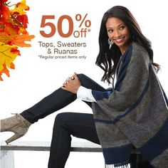 Let's have a #FlashSale! 50% off a wide selection of #FallFashion, for today and tomorrow only - come get some, you tall classy thing!