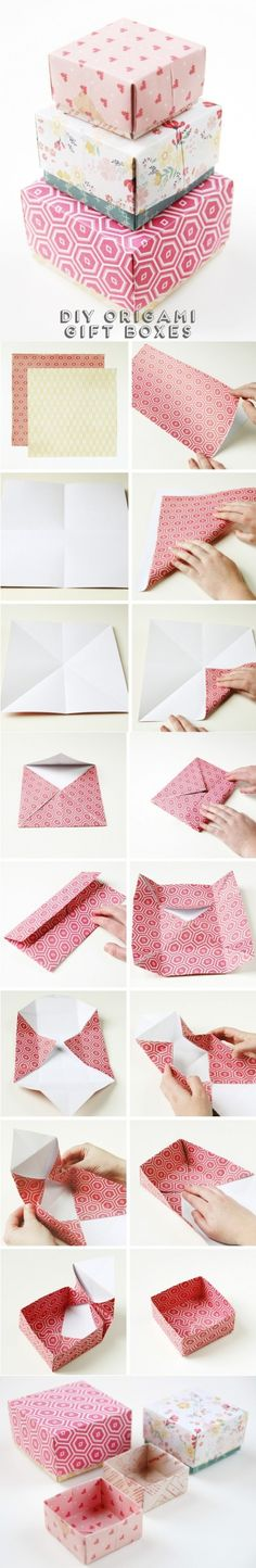 So, you have found the perfect gift, but no wrapping paper is worth of it? Then, you can make your own origami gift boxes. Choose your patterns and start folding the wrapping papers as shown to mak… Origami Diy, Origami Gift Box, Diy Gift Box, Origami Tutorial, Diy Box, Origami Paper, Diy Paper, Diy Gifts, Paper Crafts