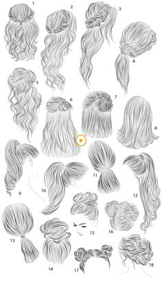 18 vector female hairstyles from colorshop on creative market - . - gina humpa - 18 vector female hairstyles from colorshop on creative market - . Schwarze Frisuren 18 vector female hairstyles from colorshop on creative market - Deutsch - Pencil Art Drawings, Art Drawings Sketches, Easy Drawings, Easy Hair Drawings, Illustration Sketches, Illustration Artists, Hair Sketch, Hair Style Sketches, Dress Design Sketches