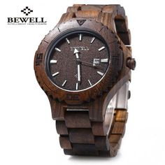 Luminous Pointers Sandalwood Wooden Quartz Watch for Men | Features: Christmas Gift, Valentine Gift, Birthday Gift, Anniversary Gift