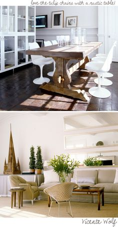 love the white plastic chairs with the rustic wood.
