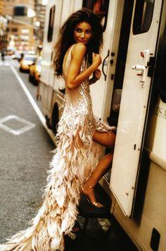 Glamorous feather sparkle dress