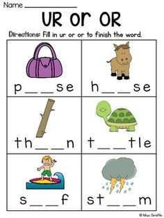 R Controlled Vowels Worksheets Phonics Reading, Teaching Phonics, Teaching Kids, Kids Learning, English Grammar For Kids, English Phonics, English Worksheets For Kids, Kindergarten Learning, Preschool Learning Activities