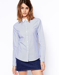 ASOS Stripe Fitted Shirt in Blue and White Stripe with White Collar
