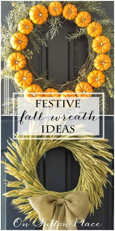 Ideas and short tutorials for adding a festive and colorful Fall wreath to your front door. Easy and DIY. Lists items needed and links to sources. #spon