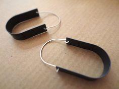 Two-Tone Silver Ovoid Loop Earrings 1