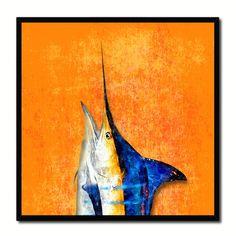 Blue Marlin Fish Head Art Orange Canvas Print Picture Frame Wall Home Decor Nautical Fishing Gifts