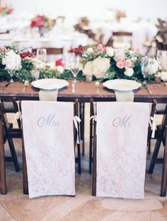 Mr and Mrs Chair Covers | photography by http://www.michelleboydphotography.com