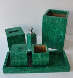 The Malachite Vanity Set. Show off your exquisite taste in bathroom decor with this beautiful collection from Bojay.