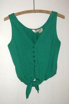 Green Button Up TANK TOP Knot Tie Shirt, Hipster Vintage Women's Medium by curiouskitty, $12.00