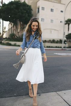 Flowy midi skirt + chambray + booties