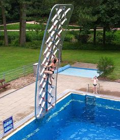 AquaClimb - Pool Side Climbing Wall- Get the heck out of here. Totally need this in camp