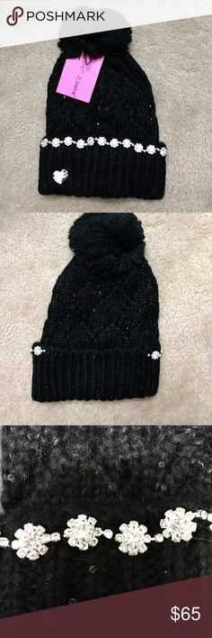 Betsey Johnson sparkly rhinestone beanie This black hat is really soft. It has sparkling rhinestones and black shimmery sequins. NWT Betsey Johnson Accessories Hats