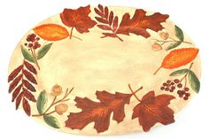 Earthenware Autumn Wind Large Turkey Platter Painted Leaves By Papel Giftware