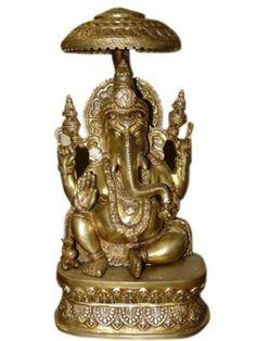 PINK-LOTUS Brass Ganesh Idol Ganpati Sitting Idol Sculpture Statue Wedding Gifts Hand Carved Deity Elephant God Ganesha Vinayak