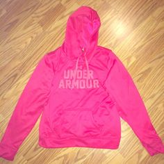 Magenta Pink UnderArmour Sweatshirt/Hoodie Worn once or twice and in excellent condition! Lovely pink color with orange UA logo. Typical hoodie style with drawstrings and pockets Under Armour Tops Sweatshirts & Hoodies