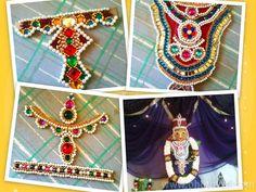 Jewels for kalasam decoration using cardboard and flatback stones. Handmade by Arthy