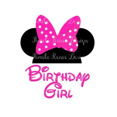 INSTANT DOWNLOAD Minnie Mouse Birthday Girl Printable Iron On Transfer in Pink or Red.