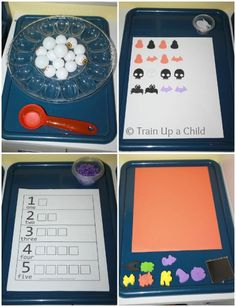 Halloween Tot Trays - Simple ideas for Halloween themed learning