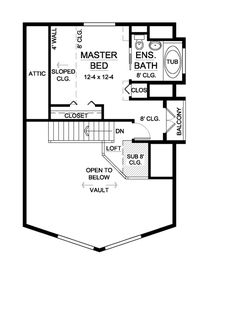 Second Floor Plan of A-Frame   House Plan 99946