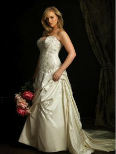Taffeta Scooped Neckline Fitted Bodice Ball Gown Wedding Dress