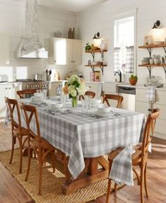 Elrene Home Fashions Tan & White Farmhouse Living Buffalo Check Tablecloth Buffalo Check Tablecloth, Plaid Tablecloth, Oblong Tablecloth, Kitchen Decor, Kitchen Design, Kitchen Linens, Eat In Kitchen, Urban Farmhouse, White Farmhouse