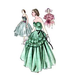 Vintage 1950s Strapless Ball Gown Pattern by RebeccasVintageSalon
