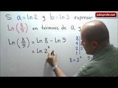 Ejercicio con logaritmos: Julio Rios explica el siguiente ejercicio con logaritmos: Si a=ln2 y b=ln3, expresar ln(8/9) en términos de a y b.