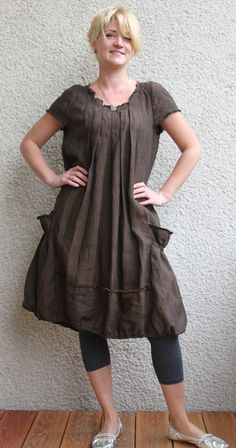 Eco friendly brown  linen dress  tunic by rubuartele on Etsy, $64.00