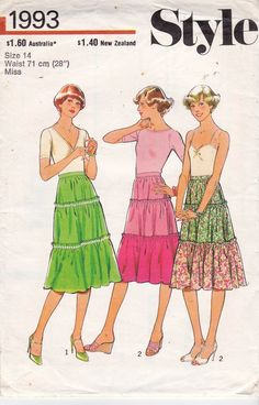 70s Style 1993 Vintage Sewing Pattern Tiered Peasant Skirt Pattern Size 14 Waist 28 inches