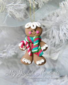 Handcrafted Polymer Clay Gingerbread Man Ornament                                                                                                                                                                                 Más