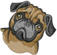 Machine Embroidery Designs Embroidery Design: Pug Dog 2.76 inches H x 2.83 inches W