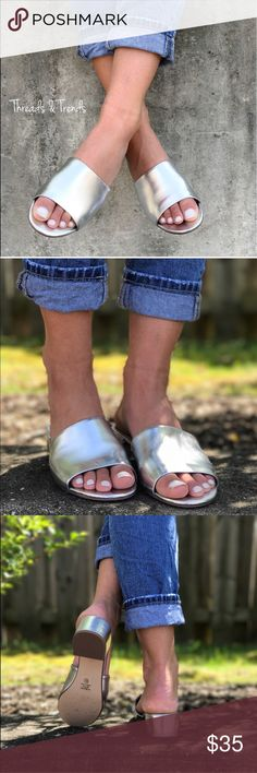 Silver Metallic Mules Silver Mule Sandals is the shoe to own this summer. These chic Mules can be styled for both casual and dressy moments. Wear them from brunch to dinner and everything in between.  Made of vegan leather. Shoes Mules & Clogs
