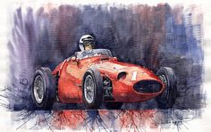 Maserati 250F watercolor on paper by Yuriy Shevchuk