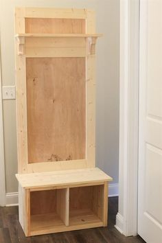 How to build a hall tree bench! This DIY hall tree is budget friendly and easy to build. It's perfect for small space organization entryways mudrooms laundry rooms apartments and more! Entryway Hall Tree Bench, Door Hall Trees, Door Bench, Door Tree, Small Entry Bench, Entry Hall, Small Hall, Front Entry, Entry Coat Rack Bench