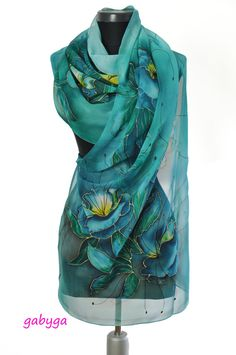 Blue Hand painted silk scarf/ Paintng silk scarf/Hand by GABYGA