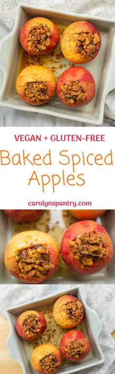 Gorgeous baked spiced apples! These are so easy and perfect for Fall and make your whole home smell heavenly. They're simple apples stuffed with walnuts, dates, and spices. Vegan and gluten-free too!