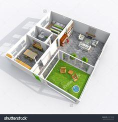 3d interior rendering of furnished roofless apartment with garden patio: room, bathroom, bedroom, kitchen, living-room, hall, entrance, door, window