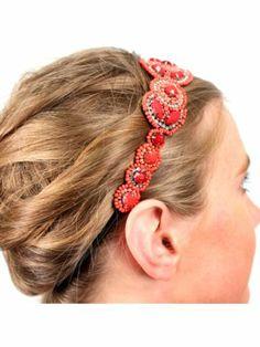 Coral Beaded Flower Headband
