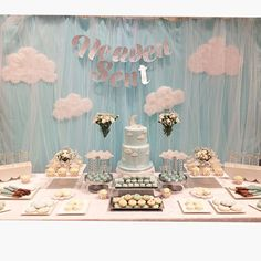 """Heaven Sent Baby shower theme and sweet table. (@sandrassweetcreations) on Instagram: """"A few more photos from today! Beautiful day for my beautiful sister and mommy to be! :) #babyshower…"""""""