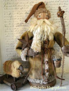 Primitivo de Arte Popular de Navidad OOAK Woodland por AWINGANDAPRAYER