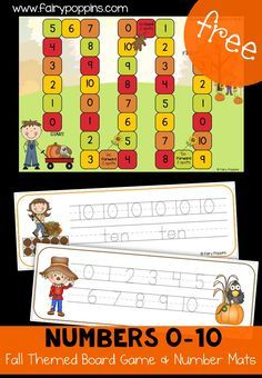 Free Fall Number board game and number mats! Laminate them and you can use them again and again with your students! A great way to work on numbers this fall with preschool and kindergarten kids!