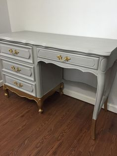 French Provincial Vanity Desk by madenewdesignct on Etsy                                                                                                                                                                                 More