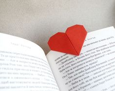 Origami heart bookmark for valentine's day.
