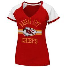 kc chiefs apparel | ... Ladies Raglan Deep V-Neck T-Shirt - Red | Kansas City Chiefs Pro Shop